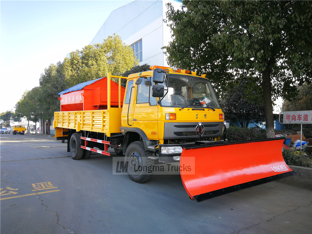 Dongfeng 145 snow removal truck with snow shovel and snowmelt agent spreader