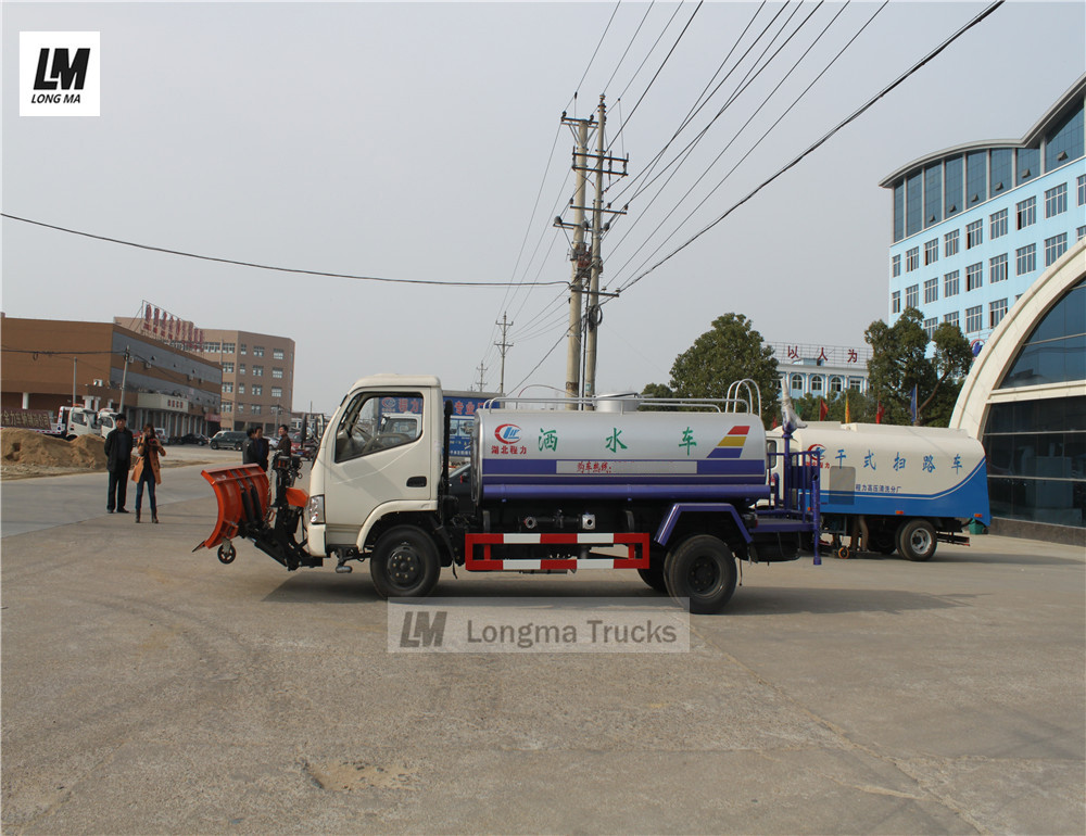 dongfeng water truck with 2m snow plow