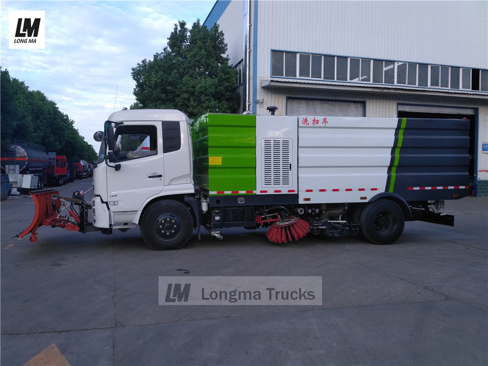 side view of longma brand snow plow on road sweeper