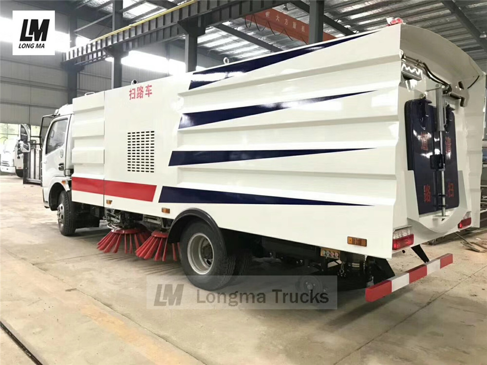 side whole view of dongfeng road sweeper