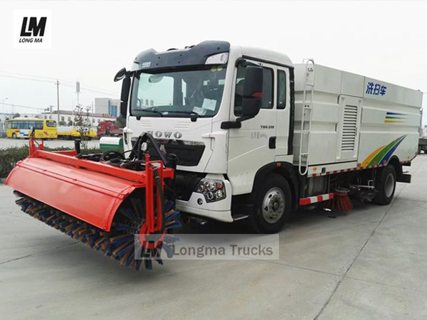 Howo road sweeper truck with 3 meters snow broom