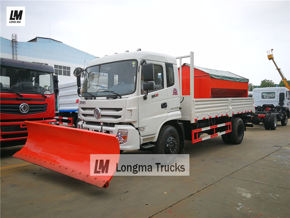 Dongfeng snow remove truck with snow plough snow brush snow spreader