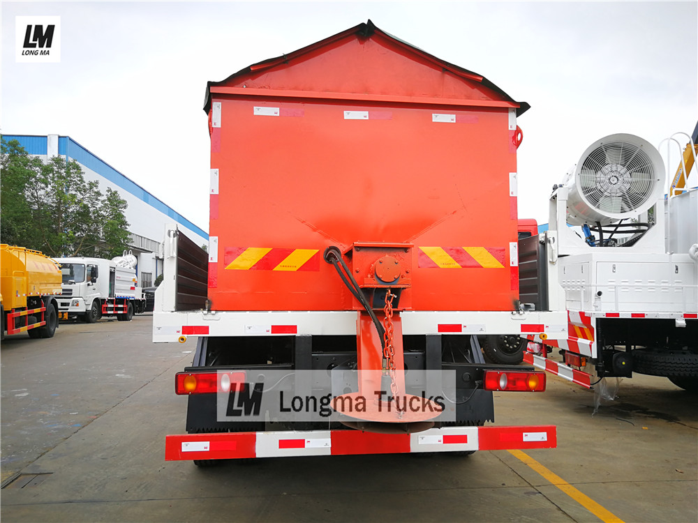 Back view of Dongfeng snow remove truck with 10000 liters snow spreader